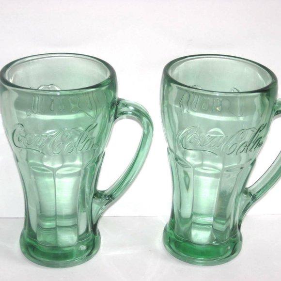 Coffee Cups Mugs Coca Cola Mug Coke Mug Coke Green Tinted Glass Mug With Handle Coca Cola Home Kitchen